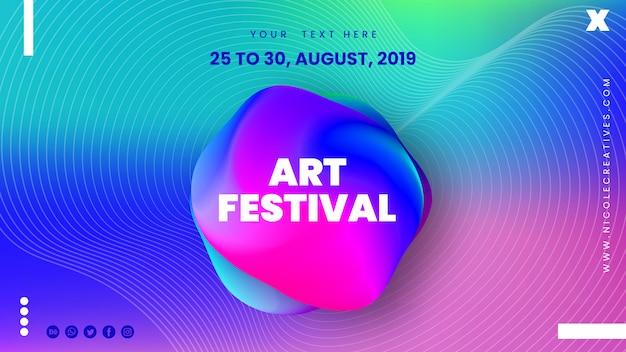 Abstrakte kunst festival banner Premium PSD