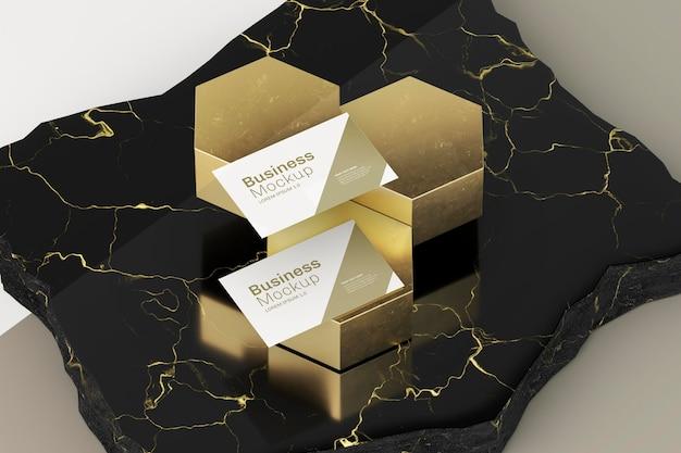 Abstraktes goldenes design des visitenkartenmodells Premium PSD