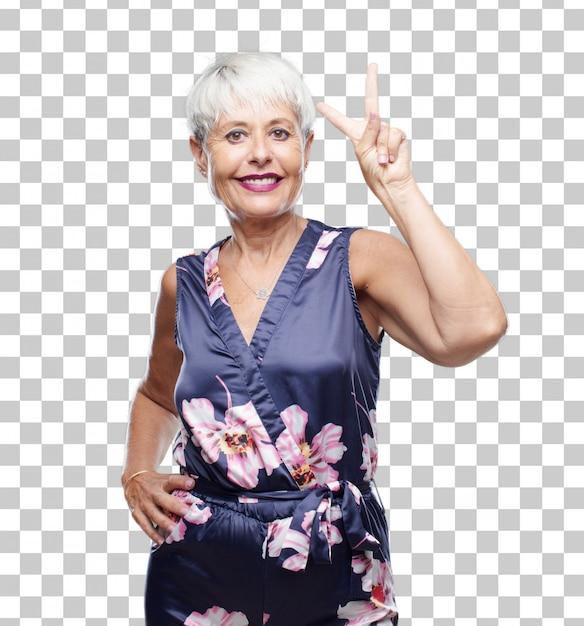 Ältere kühle frau, die zufrieden und glücklich, zählend nummer zwei mit den fingern lächelt und schaut. Premium PSD