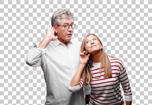 Älterer kühler ehemann und frau, die aufgepasst werden Premium PSD