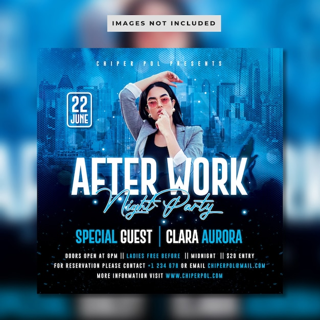 After work night party flyer Premium PSD