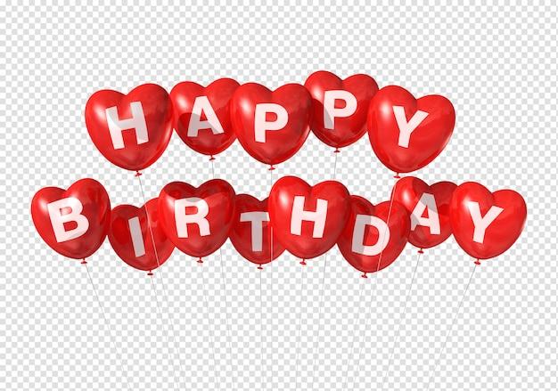 Alles gute zum geburtstag auf roten herzförmigen luftballons Premium PSD