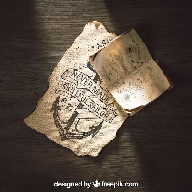 Altes papiermodell mit segeln- und abenteuerkonzept Kostenlosen PSD