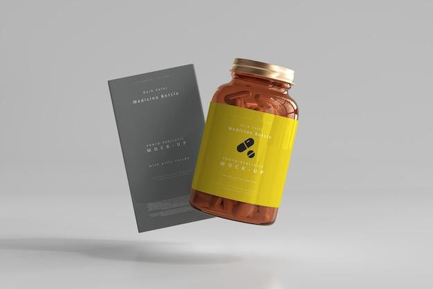 Amber medicine bottle und box mockup Kostenlosen PSD