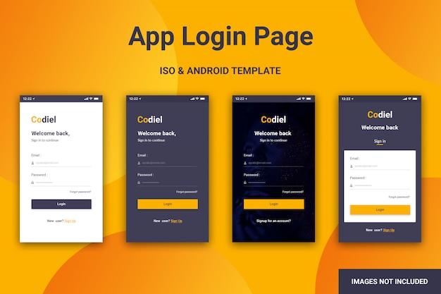 Anmeldeseite für mobile apps Premium PSD
