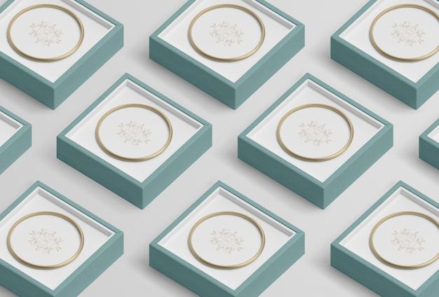 Anordnung für blaue schmuckgeschenkboxen Kostenlosen PSD