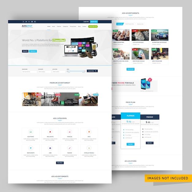 Anzeigen post klassifiziert und auflistung website-vorlage premium psd Premium PSD