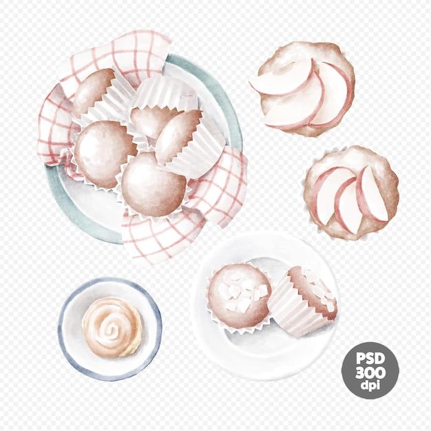 Apfelkuchen, cupcakes und brötchen in einem handgezeichneten clipart Premium PSD