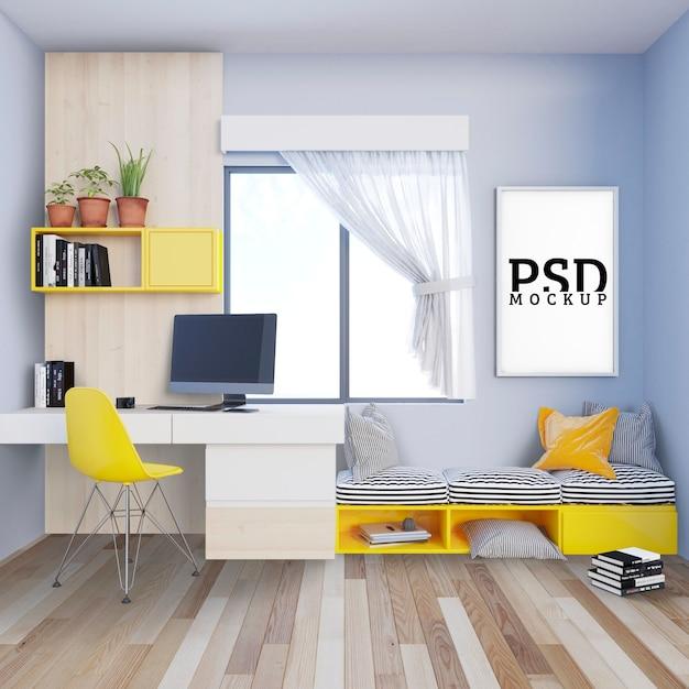 Arbeitszimmer mit sofabank und bilderrahmen Premium PSD
