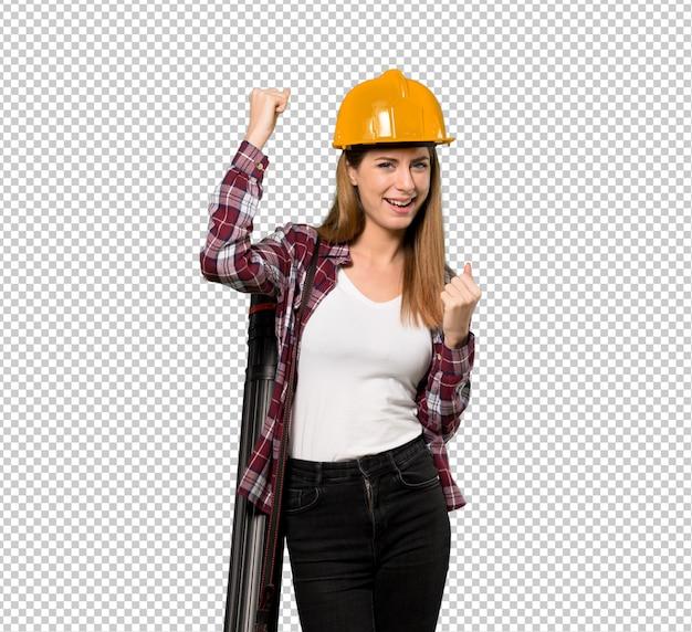 Architektenfrau, die einen sieg feiert Premium PSD