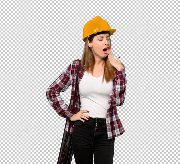 Architektenfrau, die weit offenen mund mit der hand gähnt und bedeckt Premium PSD