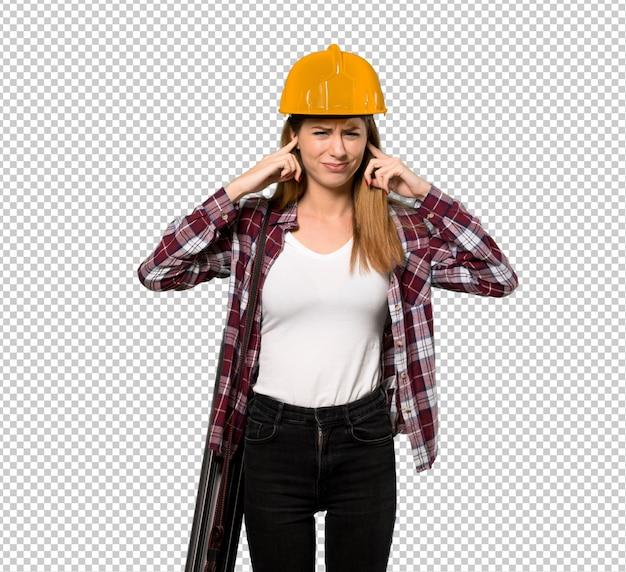 Architektenfrau frustriert und ohren mit den händen bedeckend Premium PSD