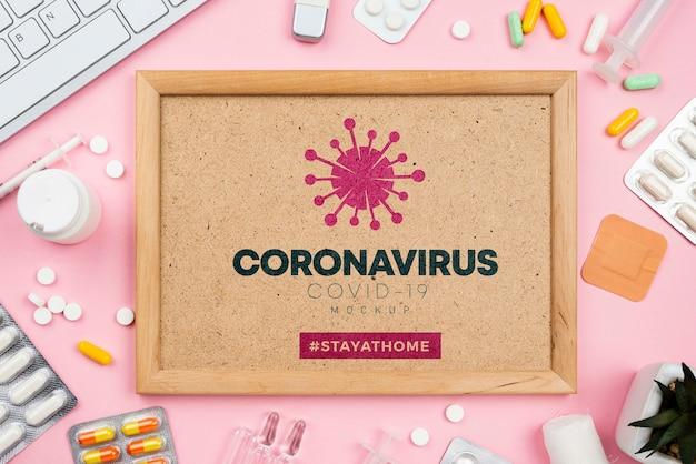 Arztpraxis mit coronavirus-rahmen Kostenlosen PSD
