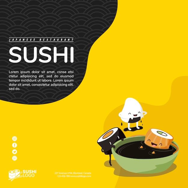 Asiatische sushirestaurantquadrat-fahnenschablone Kostenlosen PSD