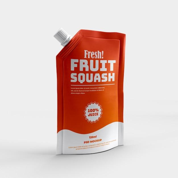 Ausgussbeutel gesundes sportgetränk und schluck saft matte folie verpackung modell Premium PSD