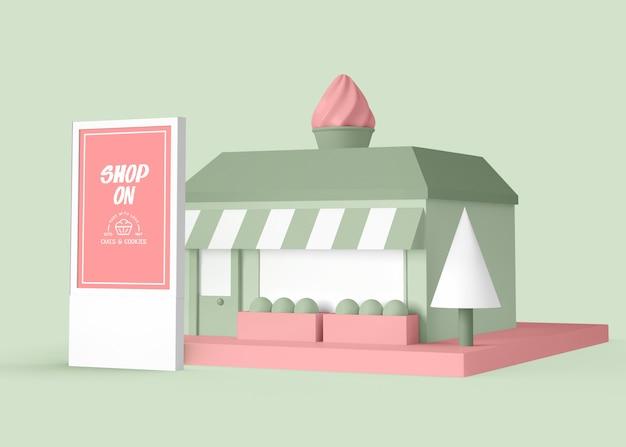 Außenwerbung des dessertladens Kostenlosen PSD