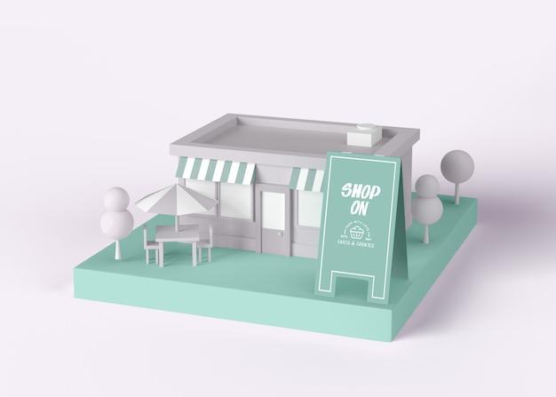 Außenwerbung shop auf modell Kostenlosen PSD
