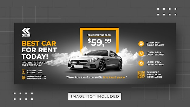 Autovermietung werbung social media facebook cover banner vorlage Premium PSD