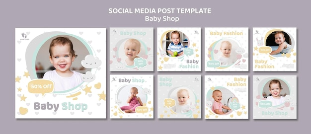 Baby shop social media post vorlage Premium PSD