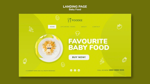 Babynahrung landingpage design Kostenlosen PSD