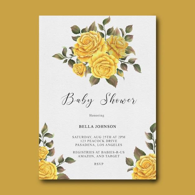 Babypartyschablone mit aquarellgelber rosenblumenrahmen Premium PSD