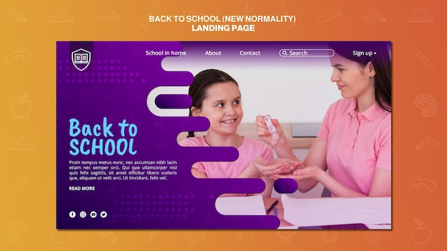 Back to school landing page vorlage Kostenlosen PSD