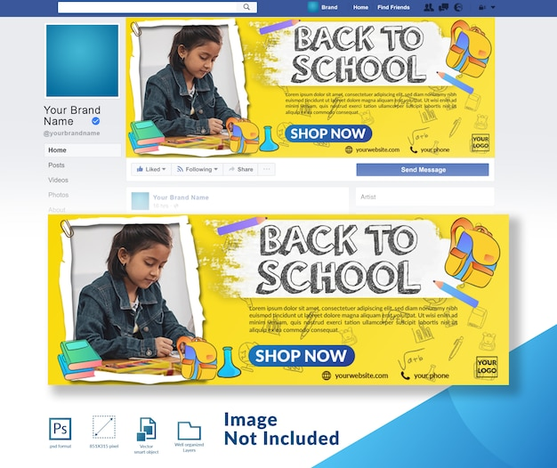 Back to school rabatt angebot social media cover vorlage Premium PSD