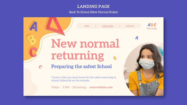 Back to school template landing page Premium PSD