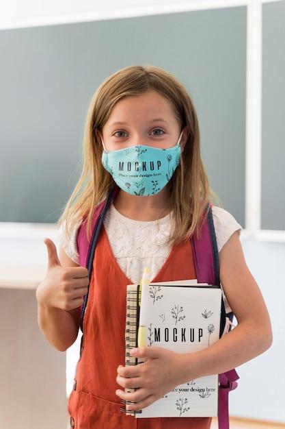 Back to school und covid concept mock-up Kostenlosen PSD