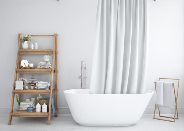 Badewanne Mit Vorhang Und Regal Kostenlose Psd Datei