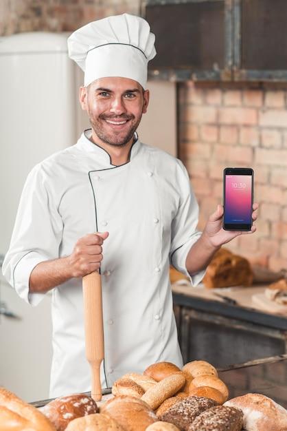 Bäckereimodell mit smartphone Kostenlosen PSD