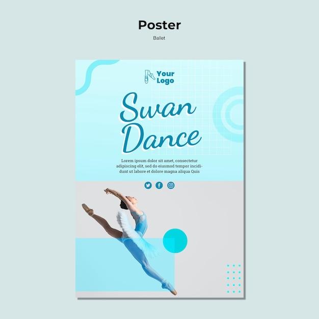 Balletttänzer-plakatschablone mit foto Kostenlosen PSD
