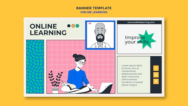Banner online-lernvorlage Kostenlosen PSD