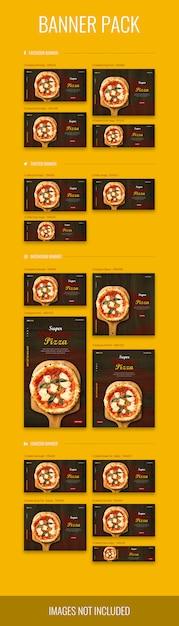 Banner pack in verschiedenen größen mit pizza-thema, psd-datei Premium PSD