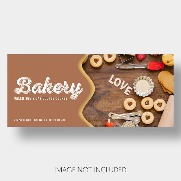 Banner vorlage bäckerei valentinstag Kostenlosen PSD