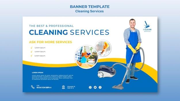 Banner-vorlage für das reinigungsservice-konzept Kostenlosen PSD