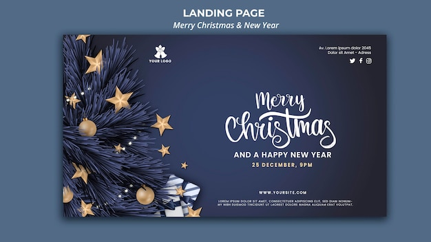 Banner vorlage für weihnachten und neujahr Kostenlosen PSD