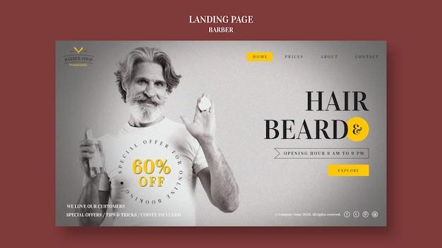 Barber shop anzeige landing page vorlage Kostenlosen PSD