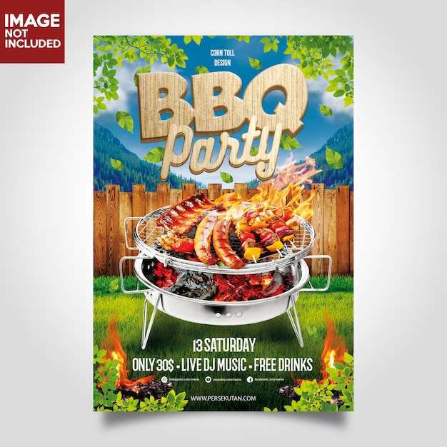 Bbq barbeque music party flyer schablone Premium PSD