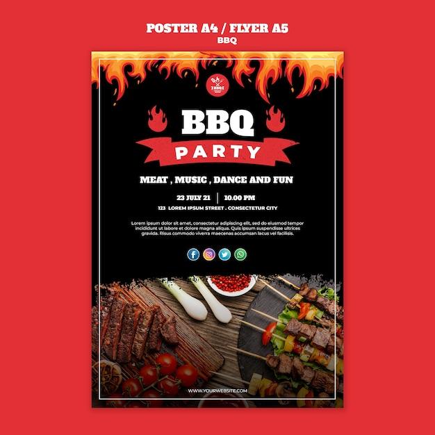 Bbq konzept poster flyer vorlage Kostenlosen PSD