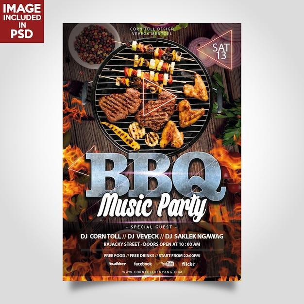Bbq-musik-party-flyer-schablone Premium PSD