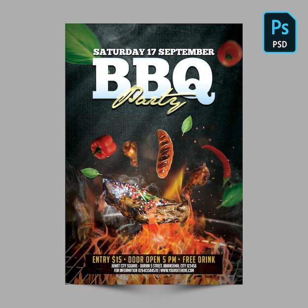 Bbq party poster einladungsvorlage Premium PSD