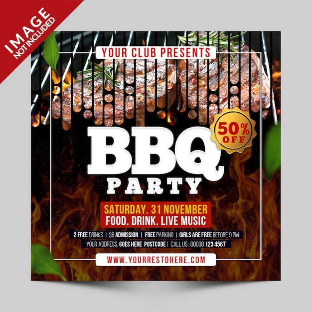 Bbq-party-social-media-vorlage Premium PSD