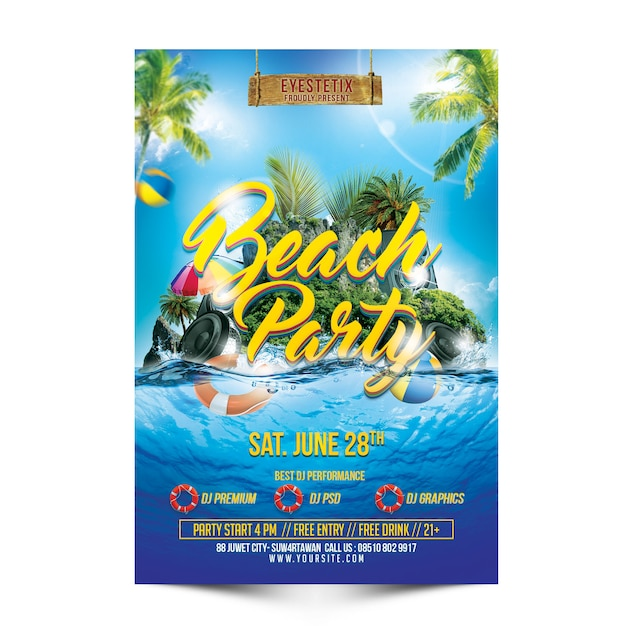 Beachparty-flyer-modell Premium PSD