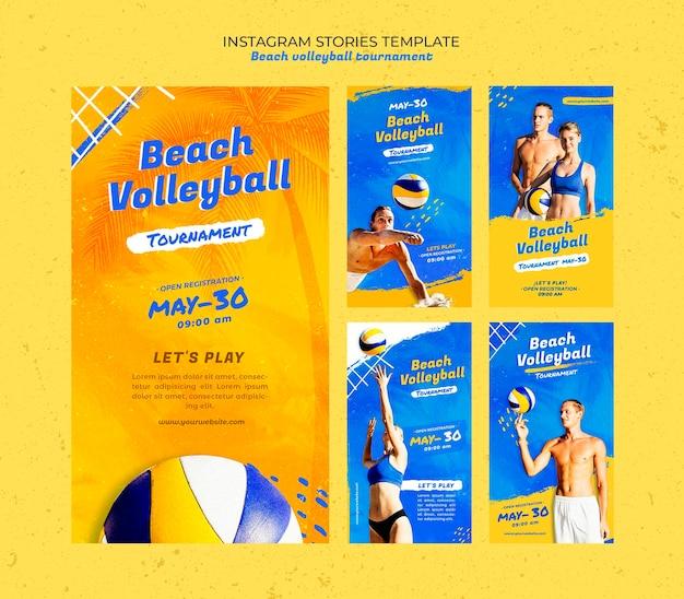 Beachvolleyball-konzept instagram geschichten vorlage Premium PSD
