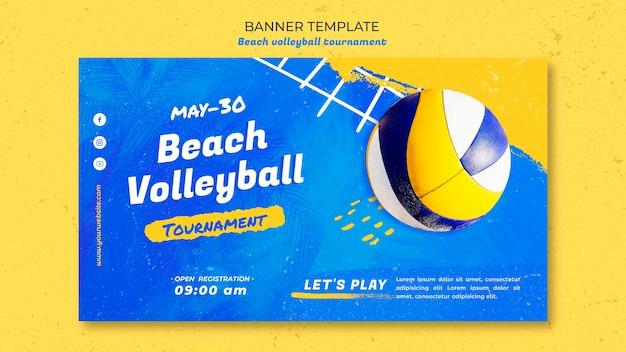 Beachvolleyball-konzeptfahnenschablone Kostenlosen PSD