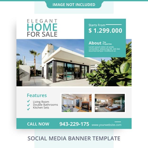 Bearbeitbare einfache minimalistische haus zum verkauf immobilien banner promotions Premium PSD