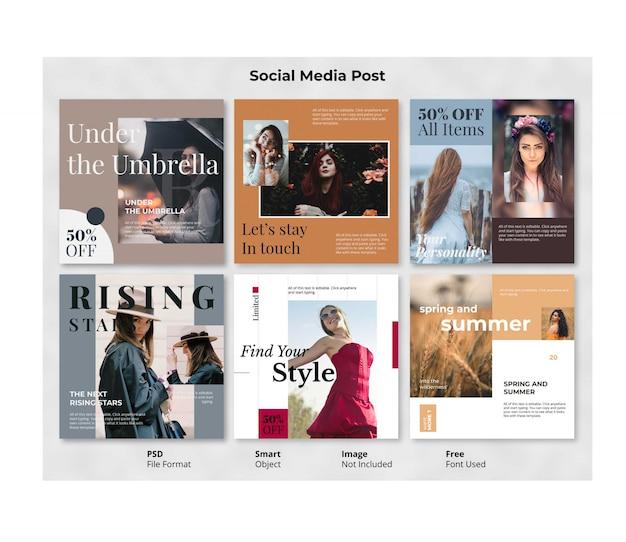 Bearbeitbare fashion square social post banner vorlage Premium PSD