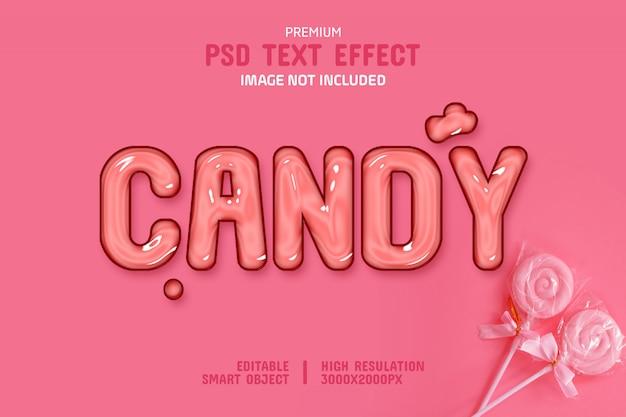 Bearbeitbare glossy candy text-effekt-vorlage Premium PSD