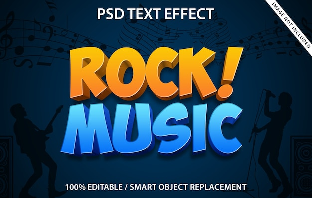 Bearbeitbare texteffekt-rockmusik Premium PSD